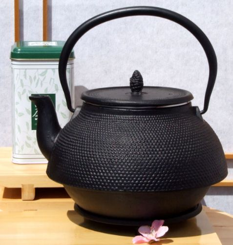 White Peony Tea Trivet & Tetsubin 2L Japanese style Cast Iron black hobnail Kettle